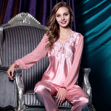 Ms. Chun style long-sleeved autumn pure silk pajamas two suit is noble sexy cute household to take