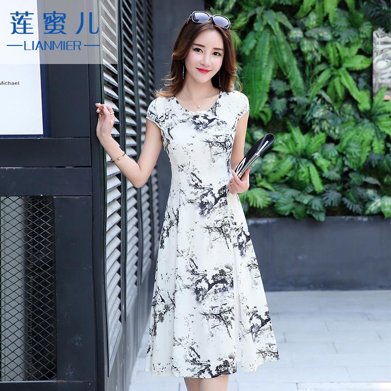 雪纺印花连衣裙2016夏装韩版短袖中长款小清新修身碎花长裙子气质