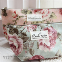 Special package mail South Korea imported beads garden big peony flowers Waterproof makeup bag to receive bag