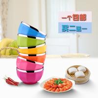 不锈钢碗彩色碗双层隔热防烫防摔碗儿童碗米饭碗可爱创意碗韩式
