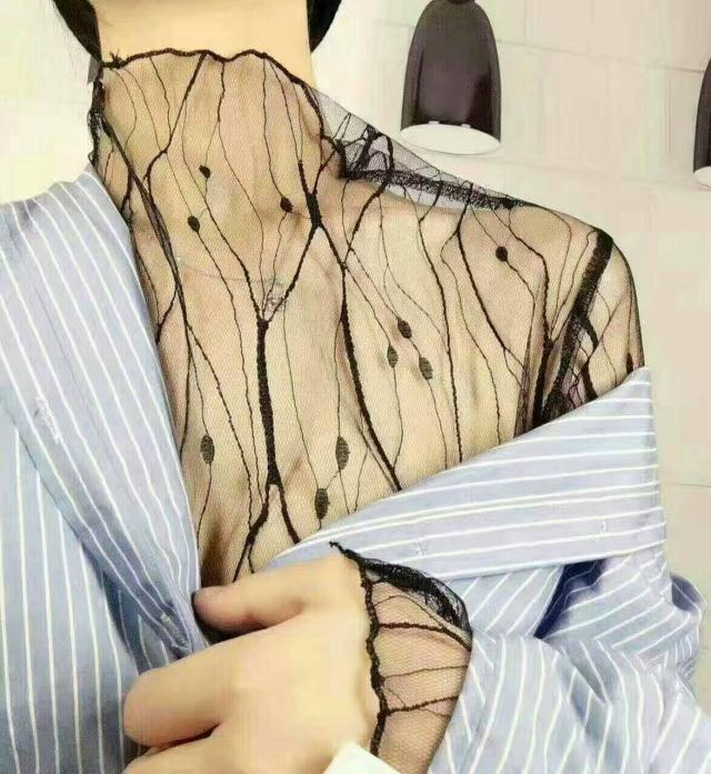 春季新品韩版性感透视上衣宽松高领套头内搭网状长袖打底衫女