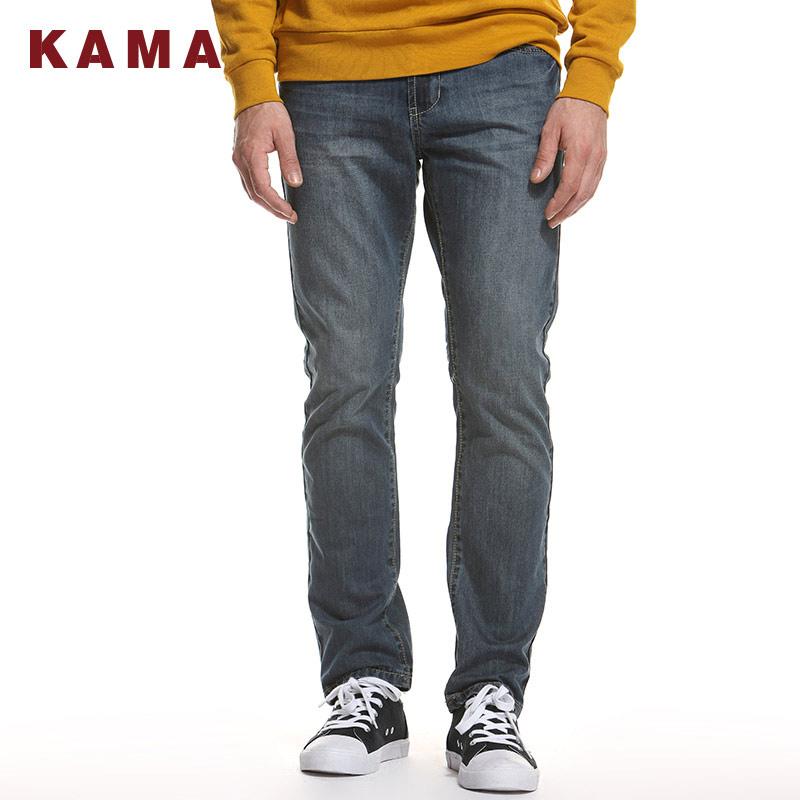 KAMA 卡玛青年男装 时尚水洗休闲牛仔长裤男直筒中腰裤子 2213301