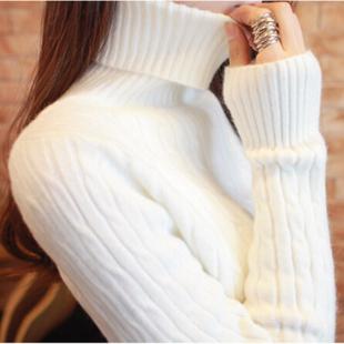 兔绒包芯纱冬季新品2016韩国高领白色麻花毛衣女修身长袖打底衫