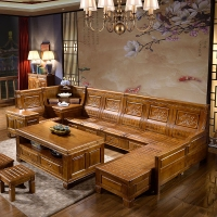 香樟木全实木沙发多功能储物L型贵妃转角沙发大户型中式客厅家具