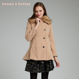 bread n butter秋冬新品毛领修身中长款羊毛大衣毛呢外套