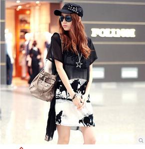 9810#夏韩版万马奔腾印花吊带+雪纺短袖罩衫大码宽松两件套裙