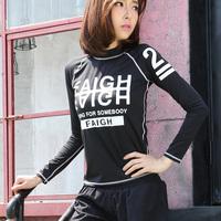 韩国秋冬新款运动T恤女秋长袖  高弹力修身透气户外运动健身上衣