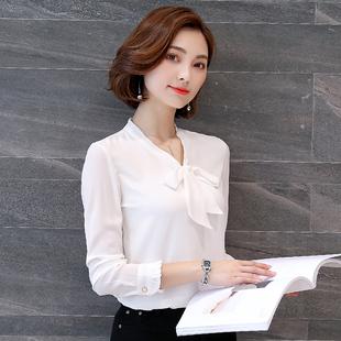 蝴蝶结雪纺衬衫女长袖2018春装衬衣百搭打底小衫职业