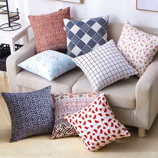 棉麻抱枕卡通靠垫方形抱枕套芯午休靠枕护腰靠垫沙发抱枕靠垫定制