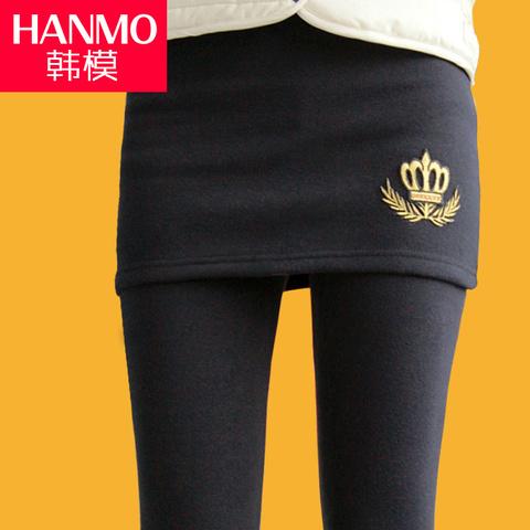 加绒加厚假两件打底裤裙裤大码显瘦包臀裤裙女外穿秋冬季新款