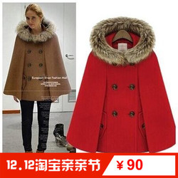 毛领带帽斗篷毛呢外套Women Winter Wool Trench Coat Fur Jacket