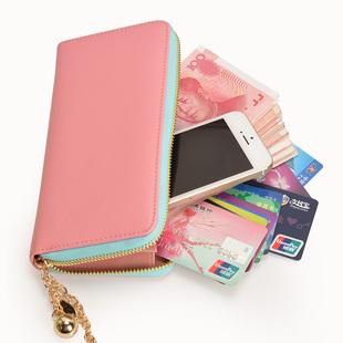 度兰尼女士钱包2014女长款钱包可爱牛皮女手包拉链手机包