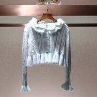 新款秋装女短款套头针织衫打底衫显瘦毛衣外套圆领宽松下摆荷叶边