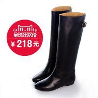 高筒靴冬新款真皮女靴子潮长筒靴0912-1军靴平底鞋马丁骑士直筒靴