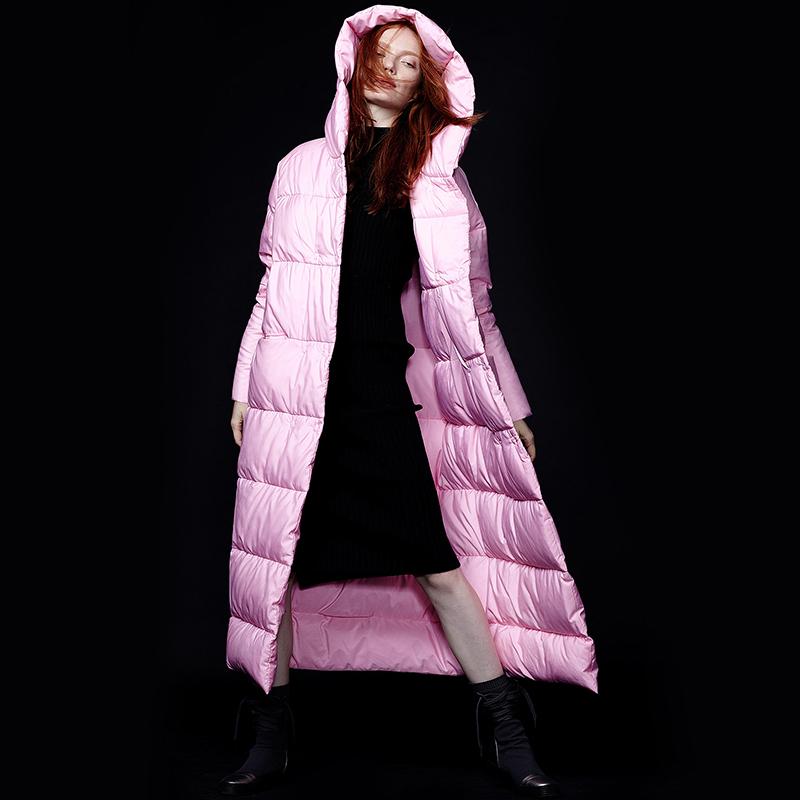 弗洛拉2016冬新款欧洲站长款羽绒服女长过膝白鹅绒连帽加厚鹅绒服