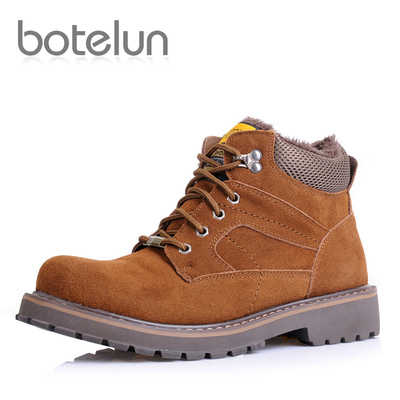 Men's winter padded winter shoes men really Piga velvet thick warm men's casual high-top boots Martin Army hook cotton shoes