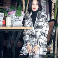2015女装冬季独家定制大牌黑白大格子中长款呢料大衣外套【实拍】