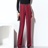 夏莫卡15秋冬装微喇叭长裤子女时尚条纹阔腿裤修身显瘦直筒裤K42