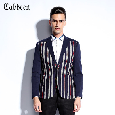 Carbene winter leisure suits men Slim casual jacket personality stripe single West C / 3134133009