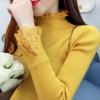 秋冬女装蕾丝拼接半高领毛衣女加厚套头长袖针织衫打底衫