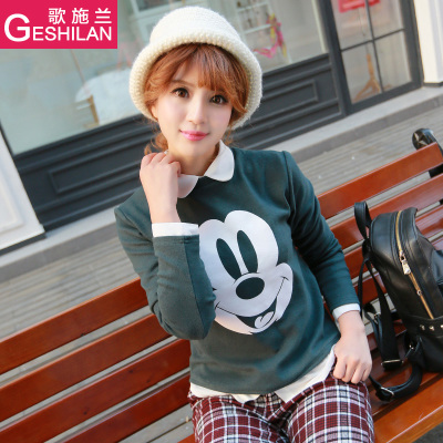 Song Shi Lan simple fashion bottoming shirt 2014 autumn and winter female body decoration inside the ride tide Mickey cartoon T-shirt shirt female