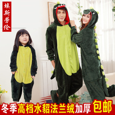 Children's winter flannel cute green dinosaur cartoon monster animal piece pajamas men and women couple Family fitted clothes