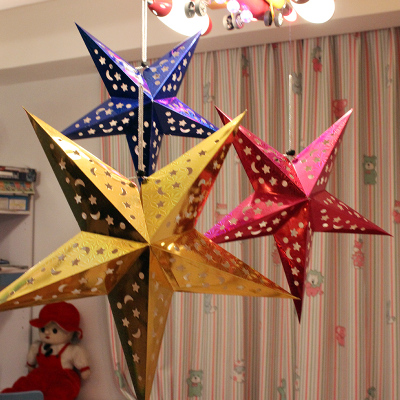 2015 Chinese New Year decorations hollow three-dimensional laser bar nursery ceiling ornaments pentagram star lampshade