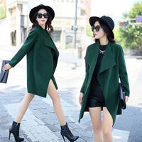 宽松显瘦羊毛呢风衣外套 韩版女装2015秋冬新款双面呢外套上衣 潮