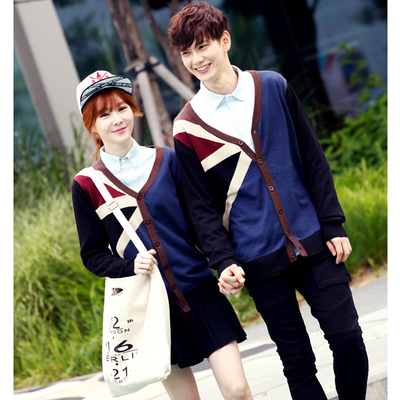 British wind Han edition cotton cardigan knitting couples The union flag knitted cardigan Couples sweater M35