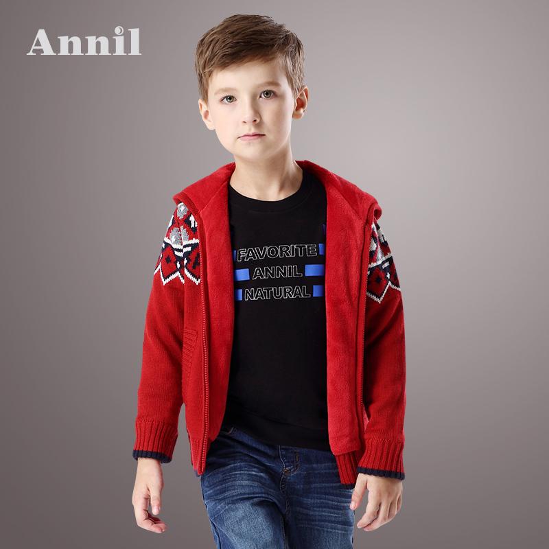 安奈儿童装男童秋季新款连帽羊毛混纺毛衫外套EB544007