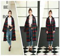 2016秋冬装新款韩版格子毛呢大衣学院风毛呢外套女超长款呢子大衣