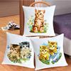 凉风十字绣客厅 动物 可爱猫咪系列 抱枕 靠垫 印花