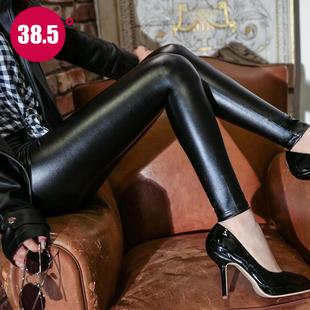 皮裤女2018潮高腰秋冬打底裤外穿加绒加厚紧身亚光黑色小脚裤