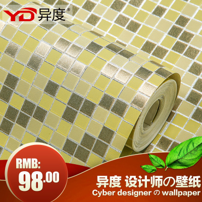 Different degrees foil wallpaper wallpaper gold silver women's clothing store KTV mosaic ceiling lamp pool background wallpaper