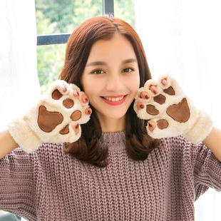 手套女冬季可爱学生半指卡通萌甜美加绒保暖加厚冬天毛绒猫爪
