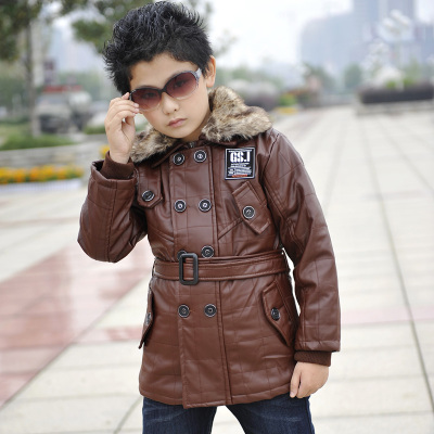 2014 new children's clothing boys double breasted 4/5 / 6/7/8/9 fur collar leather jacket coat boy