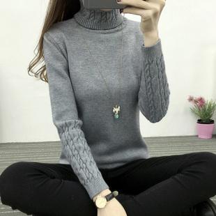 秋冬高领毛衣女套头女装麻花加厚长袖百搭打底针织衫