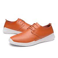 秋季男士韩版皮鞋系带透气潮流休闲鞋男真皮软底棕色英伦时尚男鞋