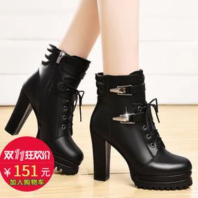盾狐秋冬新款马丁靴厚底防水台短靴超高跟短筒女靴子粗跟女士皮鞋