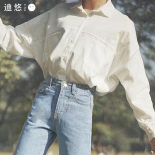 白衬衫女设计感小众春款长袖chic上衣学生bf外搭宽松韩范衬衣