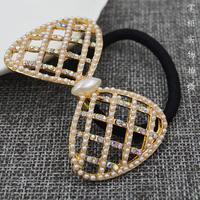 甜美蝴蝶结镶钻珍珠发圈发饰发绳可爱简约发饰头绳