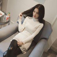 范儿2015冬装韩国新款纯色木耳边长袖蕾丝拼接毛衣中长款针织衫女