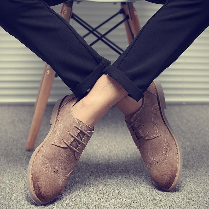男鞋秋季潮鞋新款冬季布洛克英伦风男士休闲鞋子潮皮鞋男真皮板鞋
