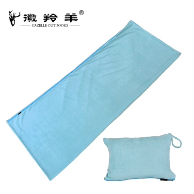 Emblem antelope outdoor thick winter sleeping bag envelope style fleece sleeping bag liner cozy fleece blanket air conditioning