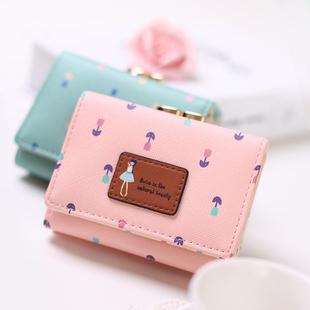 女士钱包女短款日韩版搭扣迷你零钱包小女孩小手拿包学生皮夹