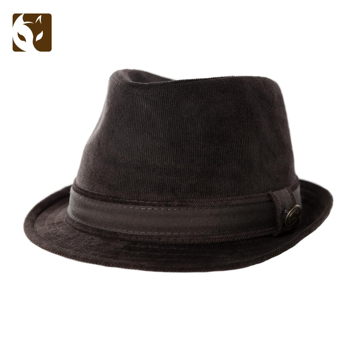 正品快樂狐貍中年人男士帽子復古時尚禮帽燈芯絨英倫紳士帽子秋季圖片