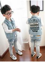 童装男童马甲 2016新款韩版男孩宝宝无袖上衣儿童牛仔背心春秋装
