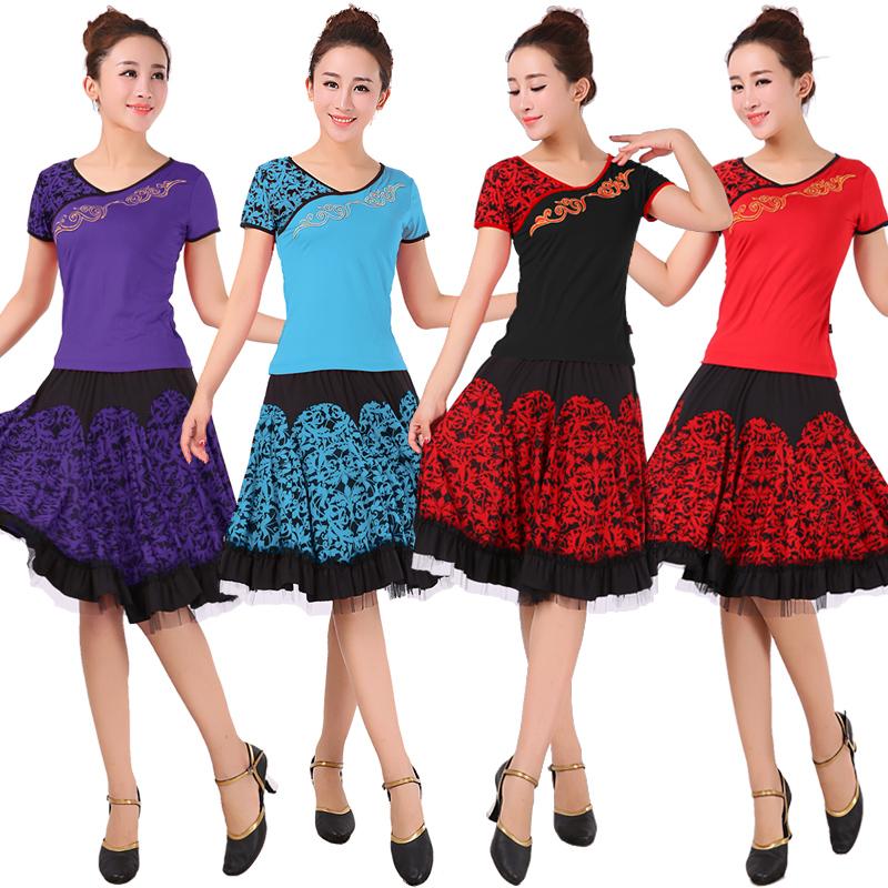 场舞服装套装_春夏广场舞服装套装新款舞蹈服装短袖上衣裙子拉丁舞蹈服装跳舞
