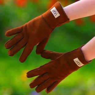 手套 女 冬 代购羊皮毛一体真皮手套男女情侣手套保暖秋冬包邮