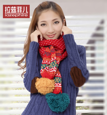 iazephire2014 scarf autumn and winter new Korean female lovely warm wool scarf snow balls gift